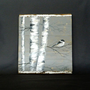 Handpainted White Birch, Bird, Reclaimed Wood Pallet Art, Rustic and Shabby Chic