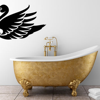 Vinyl Decal Wall Sticker Decor Bird Long Neck Swan Interior Bathroom  Unique Gift (n756)