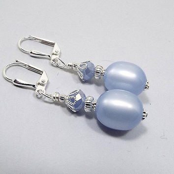 Periwinkle Blue Earrings, Pastel Drop, Silver Plated, Spring Jewelry, with Vintage Moonglow Lucite Beads, Clip on Earrings Lever Back Hook