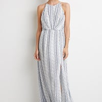 High-Slit Abstract Print Maxi Dress