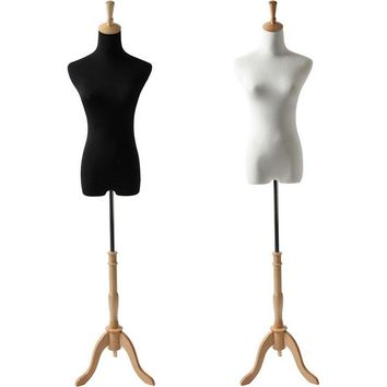 AFD-064A Petite Ladies French Dress Form with Natural Wood Tripod Base