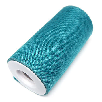 Faux Burlap Roll Frayed Edge, 6-inch, 10-yard, Turquoise