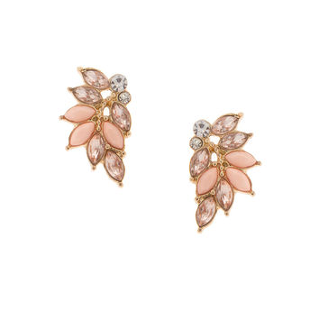 Marquis Crystal and Blush Stone Cluster Stud Earrings