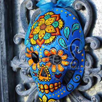 Electric Blue Dia De Los Muertos Mask - Hand Painted Sugar Skull Mask - Hand Painted Sugar Skull Mask - Mexican Folk Art - Halloween Mask