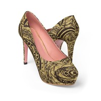 Straight Out Of Samoa Tapa Printed Shoes WomenS Platform Heels