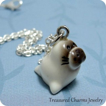Baby Seal Necklace, Baby Seal Charm on a Silver Cable Chain
