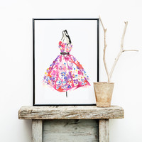 Floral Dress | Watercolor Fashion Illustration | Art print & Posters | Koma Art