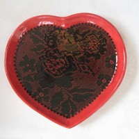 Black Lace Heart Plate