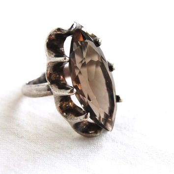 Mexican Smoky Quartz Ring Size 6 Vintage Sterling Silver Faceted Statement Jewelry Victorian Smoke