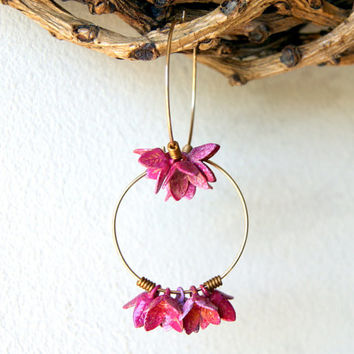 Pink Flower Earrings - hoop earrings - vintage two toned metal flower earrings - gold fill hoop earrings - flower earrings