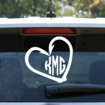 Fish Hook Heart Circle Monogram