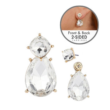 Front-Back Earrings with Iridescent Crystal & Gold Studs and Pear shape drops