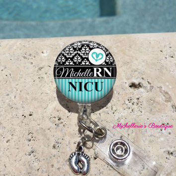 Monogram Badge Reel, Retractable Badge Holder, Personalized Badge Reels, Doctor Badge Reels, Nurse Badges,RN BSN, LPN,Midwife,Damask Aqua