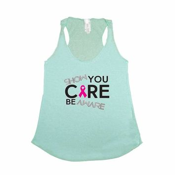 Women's Show You Care Be Aware Breast Cancer Awareness Trie Blend Tank TURQUOISE