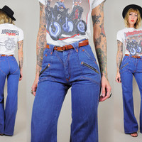 Zipper pocket 70's Chevron stitched BELL BOTTOM Jeans High waist Tight fit zig zag Hippie Rocker Boho xs