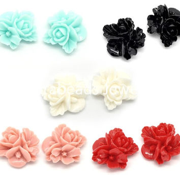 DoreenBeads 50 Mixed Resin Flower Embellishments Jewelry Making Findings 16x16mm (B15613)