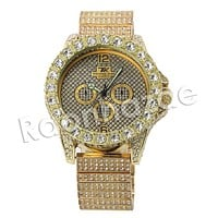 HIP HOP ICED OUT RAONHAZAE JUELZ SANTANA LUXURY GOLD FINISHED LAB DIAMOND WATCH