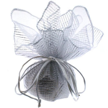 30 Designer Organza Fabric Gift Bags Pouches Party Favor Gifts Packaging Metallic Silver