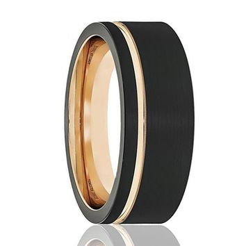 Men's Black Tungsten Wedding Band With Thin Side Rose Gold Groove Flat Edge 8mm