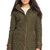 Women's Lauren Ralph Lauren Faux Leather Trim Quilted Coat,