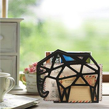 Geometric Elephant Design 2 Slot Mail Letter Sorter Rack Document File Holder Black