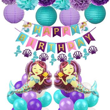 MERMAID PARTY- Under The Sea Party, Girls Happy Birthday Party, Purple, Teal Tissue Poms & Lantern Set, Purple Happy Birthday Banner