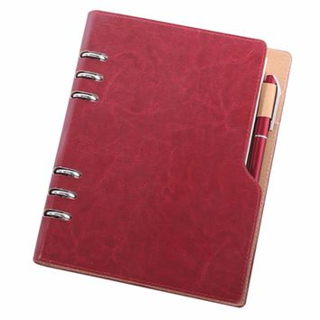 A5 6 Rings PU Leather Loose Leaf Business Round Ring Binder Cover Notebooks 90 Sheets With a Exposed Pen Inserted
