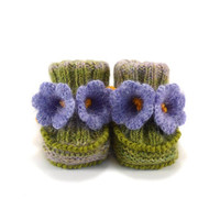 Hand Knitted Baby Booties with Crochet Bell Flowers,  0 - 6 months