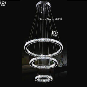 Modern Design Silver Crystal Chandelier Lightingde Cristal Suspension Led Crystal Ring Light W/ Led Bulbs Dia500 + 300 + 200Mm
