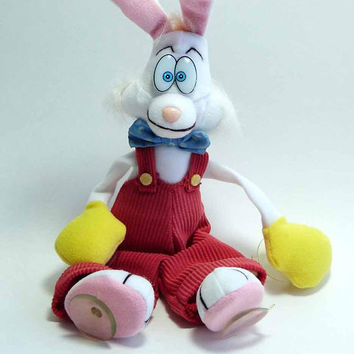 "Vintage 1987 Disneyana Who Framed Roger Rabbit 9"" Plush Window Sucker Toy Plush Stuffed Animal Window Ornament"