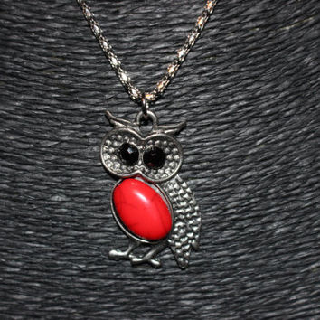 Silver Owl with Red Stone Pendant Necklace