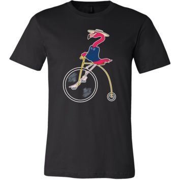 Flamingo Cartoon On A Bike Funny Animal T-shirt