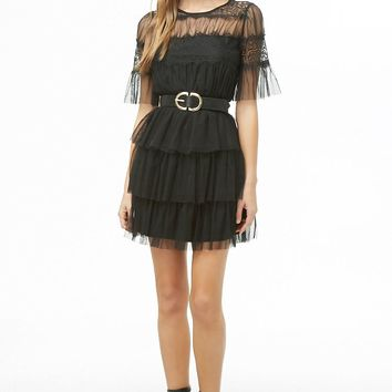 Sheer Tiered-Ruffle Dress