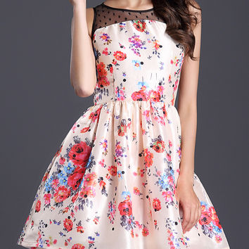 Pink Floral Sleeveless High Waist A-Line Mini Skater Dress with Mesh Accent