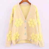 Dotted Long-Sleeve Button Knitted Cardigan