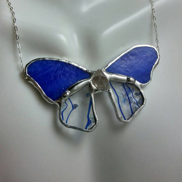 Blue Butterfly Stained Glass Necklace, Statement Necklace, Stained Glass Jewelry, Suncatcher Necklace,High Quality,Glass Art, Sterling Chain