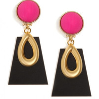 Fuchsia Button Earrings with a Gold Plated Rare Vintage Brass Tear Shaped Medallion on a Perspex Trapeze with a Matte Black Finish Pendant!