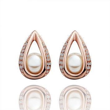 18K Rose Gold Hollow Acorn With Pearl Earrings Made with Swarovksi Elements