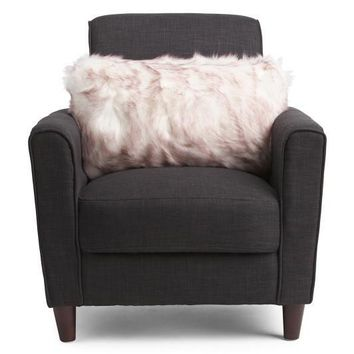 TAHARI Beige Faux Fur Oversized Throw Pillow