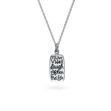 Live Love Laugh Inspiration Pendant Dog Tag Necklace Sterling Silver