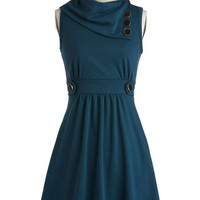 Sleeveless A-line Coach Tour Dress in Sea Blue