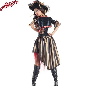 Free shipping Halloween Caribbean Spanish Pirate Costume Women Fancy Dress Cosplay  for Stage Performance Dress 40050