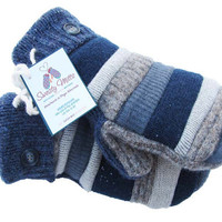 Sweaty Mitts -Designer Patchwork Mittens Upcycled Wool Women's Recycled Sweaters Handmade in Wisconsin - Blue Navy Gray Tan Brown Patchwork