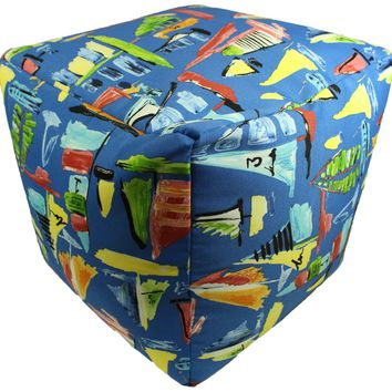 Sailboats Galore Indoor/Outdoor Square Pouf Ottoman Cube
