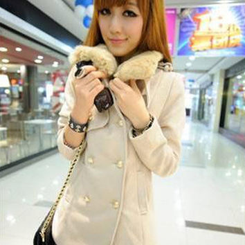Rabbit Fur Collar Double Breasted Wool Coat