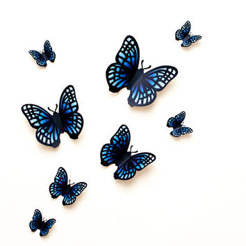 3D wall butterflies: blue gradient butterfly wall art for nursery, dorm, whimsical home decor
