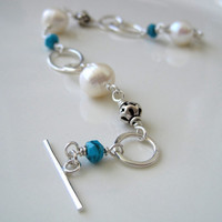 Large white pearls, turquoise, and sterling silver bracelet - ready to ship