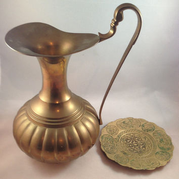 Solid Brass Pitcher and Plate, Hand Crafted by Brass Works in India