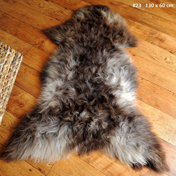 Wonderful Genuine Natural Soft Wool Sheepskin Rug - Brown / Silver / Grey Mix - eSN 23