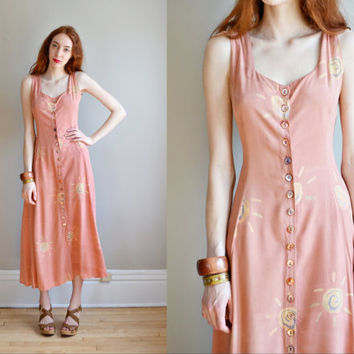 Vtg 90s pastel pink hippie maxi dress // corset by BrownCowVintage